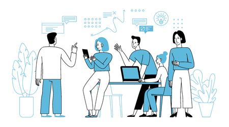 Ilustración de vector en estilo plano lineal simple con personajes de dibujos animados sonrientes - concepto de trabajo en equipo y cooperación - hombres y mujeres sentados en el escritorio con computadora portátil - reuniones y conferencias