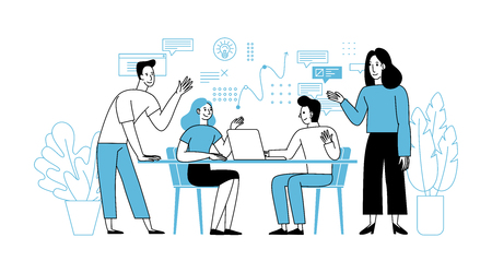 Vector illustration in simple flat linear style with smiling cartoon characters - teamwork and cooperation concept - men and women sitting at the desk with laptop - meeting and conference