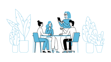 Vector illustration in simple flat linear style with smiling cartoon characters - teamwork and cooperation concept - men and women sitting at the desk with laptop - creative agency team Illustration
