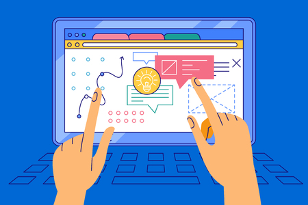 Vector illustration in simple flat style with hands and abstract user interface - teamwork and collaboration concept - tuning and developing app for business, online education platform, marketing and advertising system 向量圖像