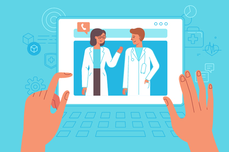 Vector illustration in simple flat style - online and tele medicine concept - hands and screen with app for healthcare - online consultation with doctor