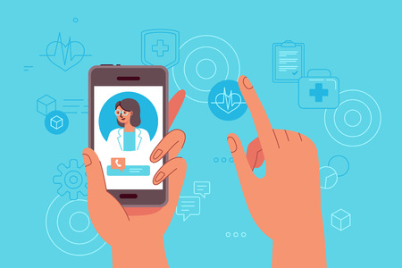 Vector illustration in simple flat style - online and tele medicine concept - hand holding mobile phone with app for healthcare - online consultation with doctor Vettoriali