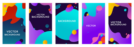 Vector set of abstract backgrounds with bright gradient colors with copy space for text - social media stories for promotion and advertising, flyer banner, promotion and advertising design