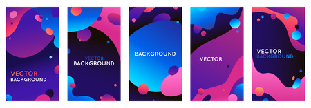 Vector set of abstract backgrounds with bright gradient colors with copy space for text - social media stories for promotion and advertising, flyer banner, promotion and advertising design 版權商用圖片 - 122038177
