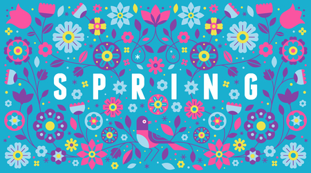 Vector horizontal banner with illustration with text spring in simple flat geometric and linear style in bright colors - frame with decorative flowers, leaves - design template for covers, banners, pa