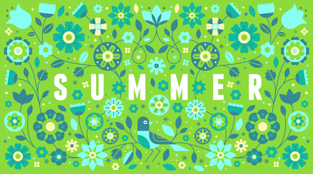 Vector horizontal banner with illustration with text summer in simple flat geometric and linear style in bright colors - frame with decorative flowers, leaves - design template for covers, banners, pa