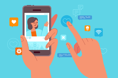 Vector illustration in flat simple style - influencer marketing concept - blogger using mobile phone and social media to  promote services and goods for followers online