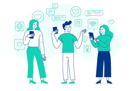 Vector illustration in flat simple style with characters - influencer marketing concept - bloggers using mobile phones and social media to promote services and goods for followers online