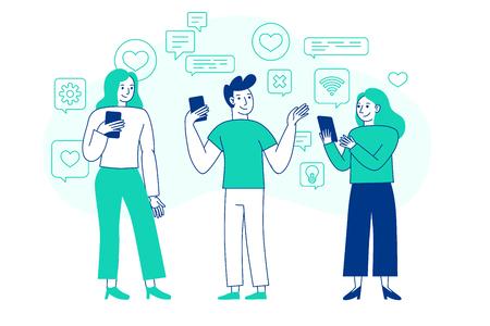 Vektorgrafik im flachen, einfachen Stil mit Charakteren - Influencer-Marketingkonzept - Blogger, die Mobiltelefone und soziale Medien verwenden, um Dienstleistungen und Waren für Follower online zu bewerben