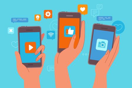 Illustrazione vettoriale in stile piatto semplice - concetto di marketing influencer - blogger che utilizzano telefoni cellulari e social media per promuovere servizi e beni per i follower online - pubblicità e marketing di testimonianze