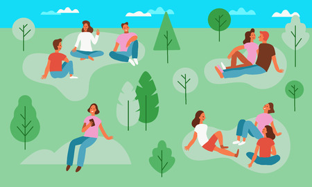 Vector illustration in simple flat style with characters - people in the park - picnic scene - men and women sitting on the grass at the open air festival - summer vacation
