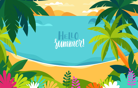 Vector illustration - beach landscape - plants, leaves, palm trees and ocean - background with copy space for text for banner, greeting card, poster and advertising - summer vacation concept 일러스트