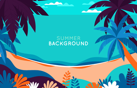 Vector illustration - beach landscape - plants, leaves, palm trees and ocean - background with copy space for text for banner, greeting card, poster and advertising - summer vacation concept Illustration