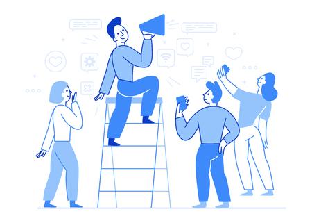Vektorgrafik im flachen, einfachen Stil mit Charakteren - Influencer-Marketingkonzept - Blogger, die Mobiltelefone und soziale Medien verwenden, um Dienstleistungen und Waren für Follower online zu bewerben - Testimonial-Werbung und Meinungsführer