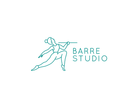 Vector abstract design template in trendy linear minimal style - barre studio - woman stretching body in fitness class
