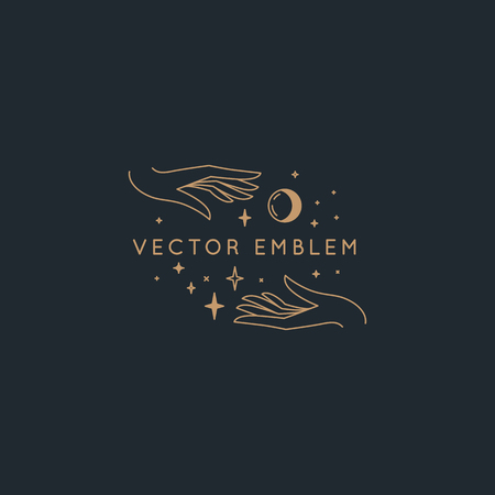 Vector abstract  design template in trendy linear minimal style - hands with moon and stars - symbol for cosmetics, jewellery, beauty and handmade products, tattoo studios and services