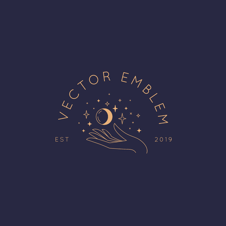 Vector abstract  design template in trendy linear minimal style - hand with moon and star - symbol for cosmetics, jewellery, beauty and handmade products, tattoo studios and services
