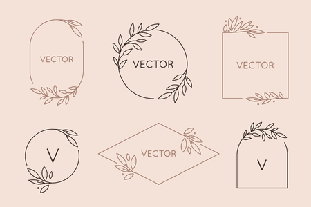 Vector logo design template and monogram concept in trendy linear style - floral frame with copy space for text or letter - emblem for fashion, beauty and jewellery industry