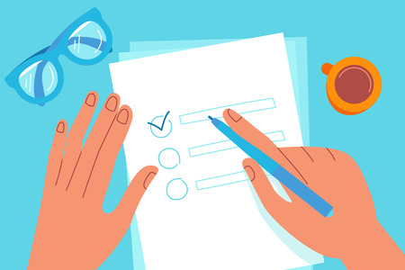 Vector illustration in flat simple style - hand holding pen and writing goals - to do list