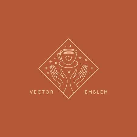Vector abstract logo design template in trendy linear minimal style - hands with coffee cup - emblem and badge for coffee shops and cafes