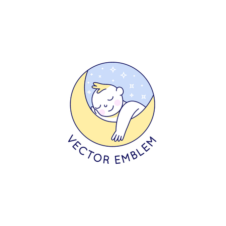 Vector logo design template and emblem in simple line style - happy baby - badge for children store and baby care centers