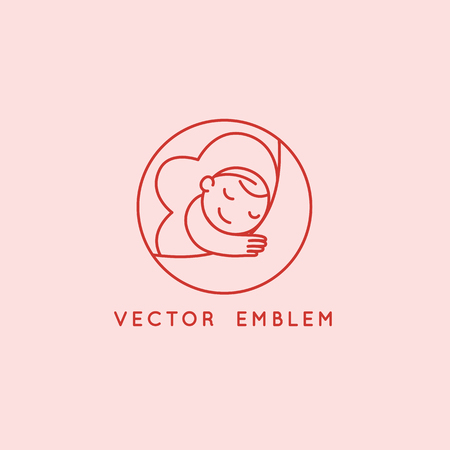 Vector logo design template and emblem in simple line style - happy baby - badge for children store and baby care centers Illustration