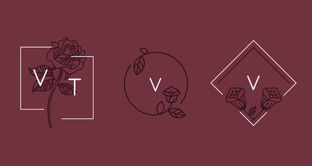 Vector abstract logo design templates in trendy linear minimal style - rose flowers and frames with copy space - symbols for cosmetics, jewellery, beauty and handmade products, tattoo studios