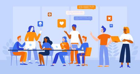 Illustrazione vettoriale in stile piatto semplice con personaggi - sviluppo di app e software - persone che lavorano insieme - team di programmatori di computer, designer grafici e di interfaccia, project manager