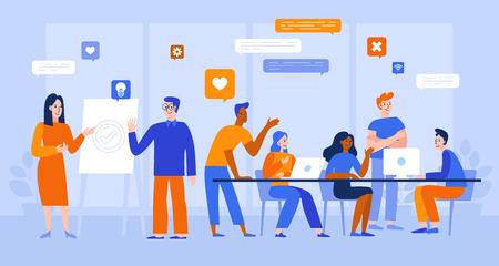 Ilustracja wektorowa w płaskim prostym stylu z postaciami - tworzenie aplikacji i oprogramowania - ludzie pracujący razem - zespół programistów, grafików i projektantów interfejsów, kierowników projektów Ilustracje wektorowe