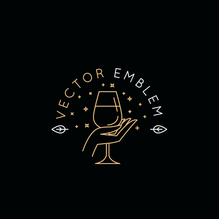 Vector logo design templat and emblem in simple line style - wine label design element and wine restaurant and bar - hand holding glass