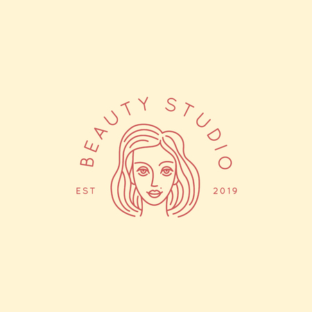 Vector abstract logo design template in trendy linear minimal style, emblem for beauty studio and cosmetics - female portrait, beautiful womans face
