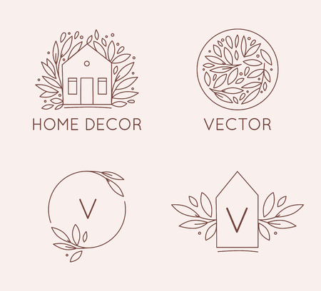 Vector logo design template in simple linear style - home decor store emblemы, scandinavian and minimal interior decoration, accessories and objects - house shape and leaves, frames with copy space Ilustrace