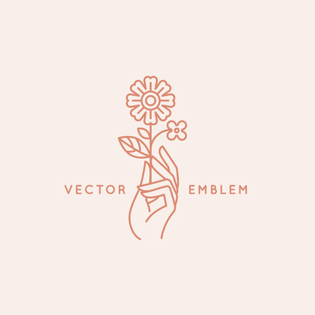 Vector abstract logo design template in trendy linear minimal style - hand with flower - symbol for cosmetics, jewellery, beauty products