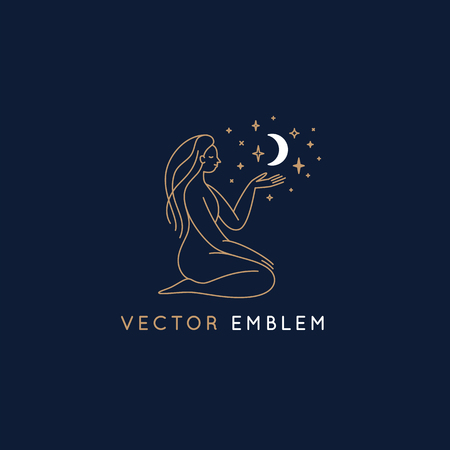 Vector abstract logo design template in trendy linear minimal style, emblem for beauty studio and cosmetics - female figure with moon and stars 일러스트