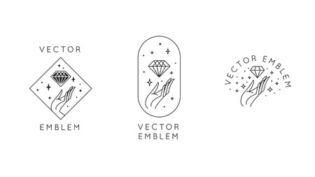 Vector abstract logo design templates in trendy linear minimal style - hands with diamond and stars - symbols for cosmetics, jewellery, beauty products