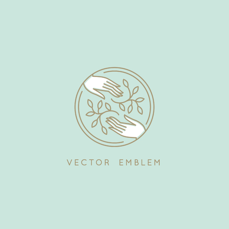 Vector abstract logo design template in trendy linear minimal style - hands with leaves- symbol for cosmetics, jewellery, beauty products