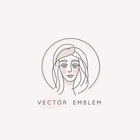 Vector abstract logo design template in trendy linear minimal style, emblem for beauty studio and cosmetics - female portrait, beautiful womans face 일러스트
