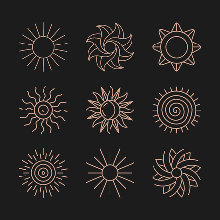 Vector set of abstract logo design templates in trendy simple linear style - sun and summer symbols
