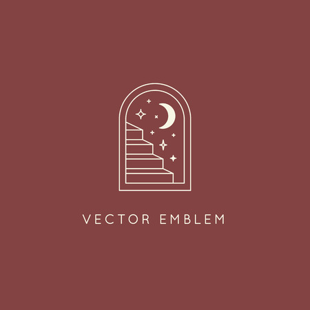Vector abstract logo design template in trendy linear minimal style - door and stairs