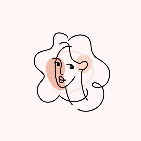 Vector illustration in minimal linear style - minimalistic female portrait - abstract modern t-shirt print  - beauty and fashion concept
