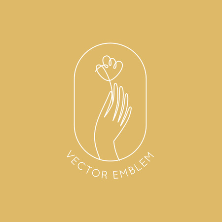 Vector design template in simple linear style - hand with flower