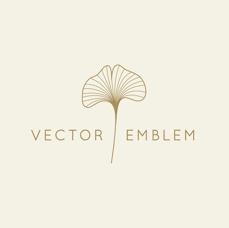 Vector abstract logo design template in trendy linear minimal style - ginkgo biloba leaf - abstract concept for organic food and cosetics