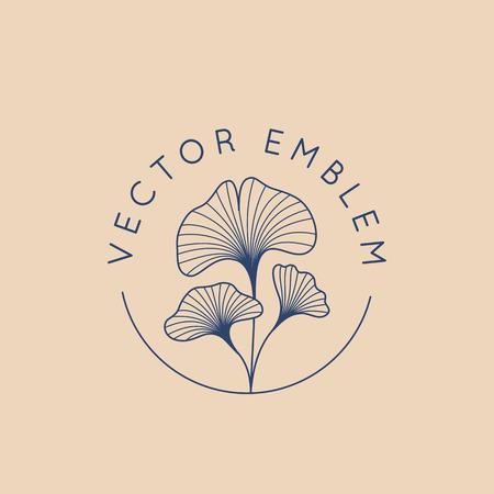 Modello di progettazione logo astratto vettoriale in stile minimal lineare alla moda - foglie di ginkgo biloba - concetto astratto per alimenti biologici e cosmetici