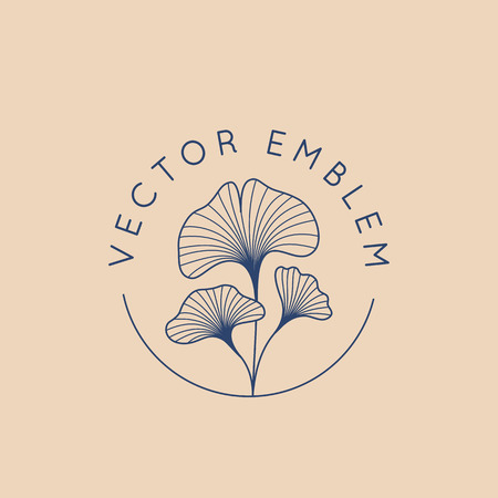 Vector abstract logo design template in trendy linear minimal style - ginkgo biloba leaves - abstract concept for organic food and cosmetics  イラスト・ベクター素材
