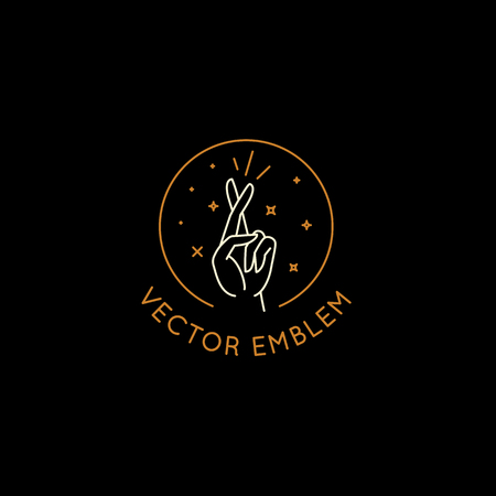 Vector abstract logo design template in trendy linear minimal style - good luck gesture