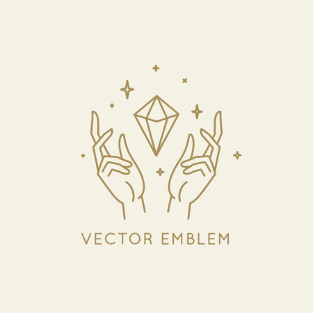 Vector abstract logo design template in trendy linear minimal style - hands and diamond - abstract symbol for cosmetics and packaging, jewellery, hand crafted  or beauty products Standard-Bild - 122326939