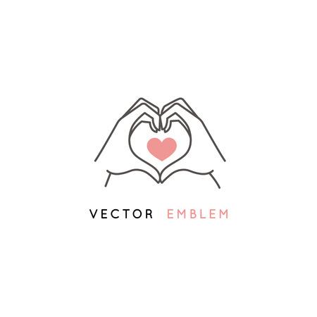 Vektorabstrakte Logo-Designvorlage im trendigen linearen Minimalstil - Hände, die Herzform machen - abstraktes Symbol für Kosmetik und Verpackung, Schmuck, handgefertigte oder Schönheitsprodukte