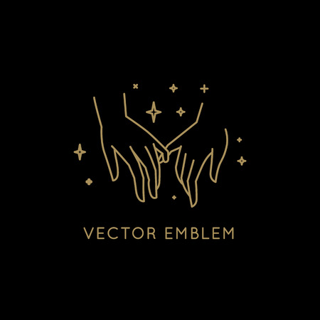 Vector abstract logo design template in trendy linear minimal style - holding hands- abstract symbol for cosmetics and packaging, jewellery, hand crafted  or beauty products