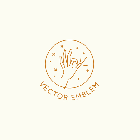 Vector abstract logo design template in trendy linear minimal style - hand in okay gesture - abstract symbol for cosmetics and packaging, jewellery, hand crafted  or beauty products