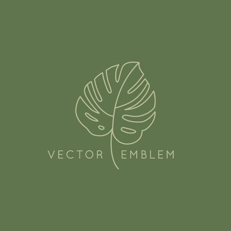 Vector abstract logo design template in trendy linear minimal style - monstera leaf - abstract symbol for cosmetics and packaging, jewellery, hand crafted  or beauty products